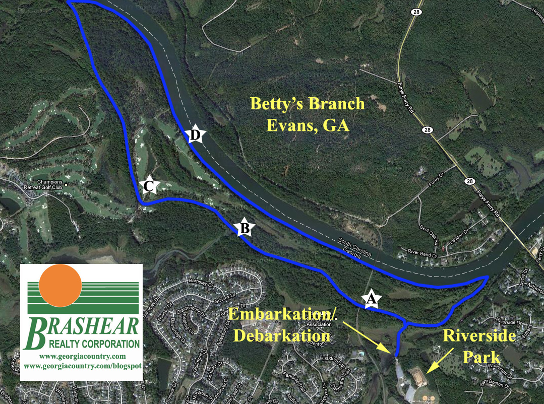 Kayak and Canoe Route of Betty's Branch Augusta, GA